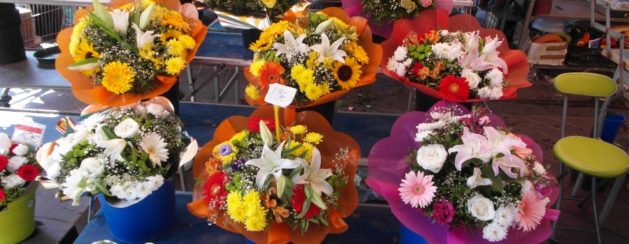 Flower market, the port and the sea in Nice, France