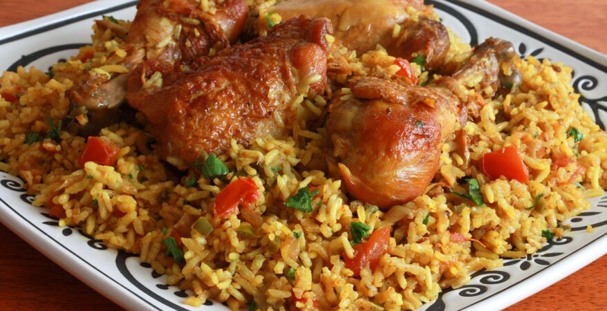 BEST of Bahrain food : Machboos Dijaj, delicious spiced chicken with rice!