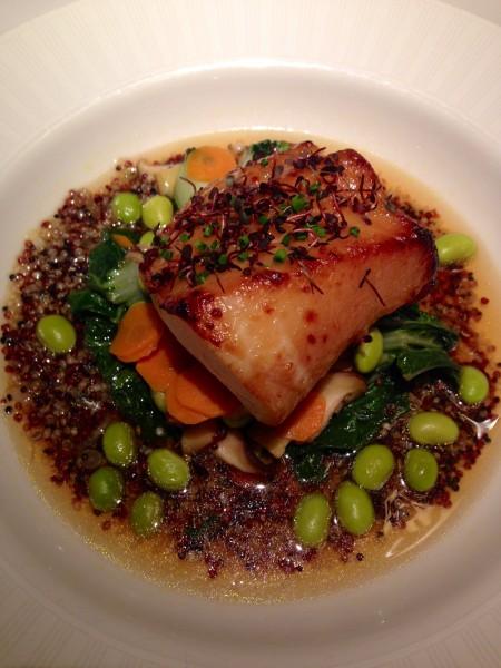 Sablefish with miso sake glaze, baby bok choy, edamame, quinoa, shitake mushrooms and yuzu - Blue Water Cafe, Vancouver
