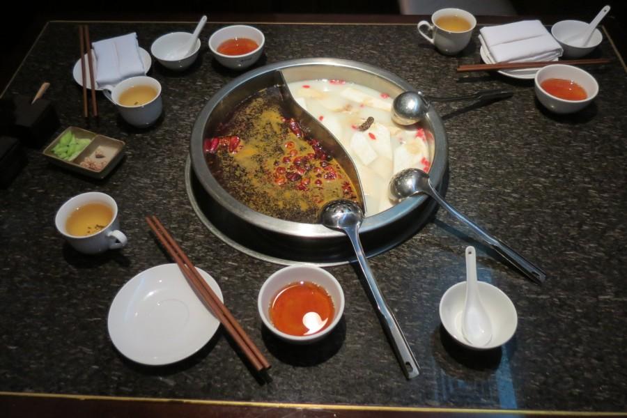 Chengdu China : hot pot at Huang Cheng Lao Ma restaurant