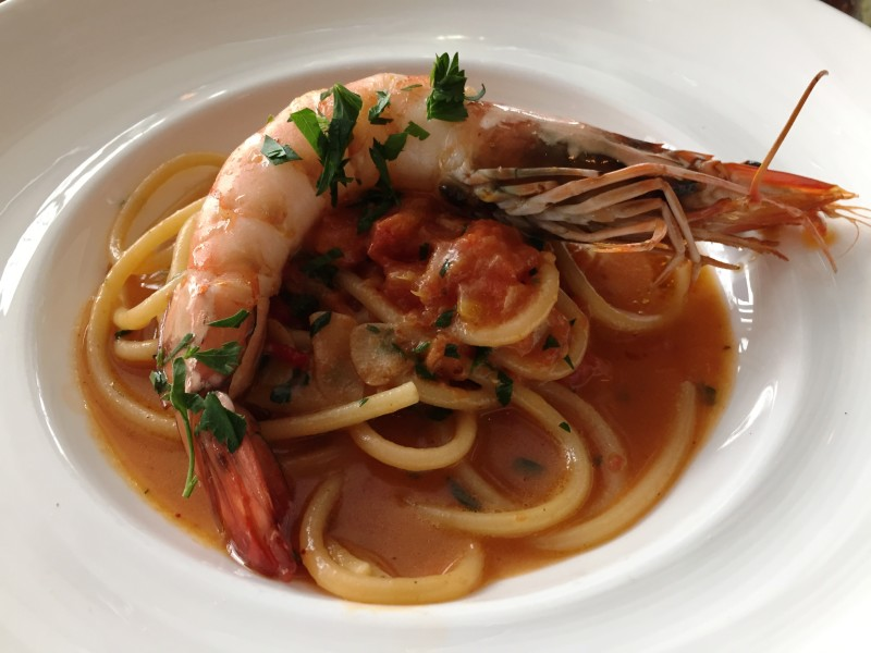 Fiola Mare Bucatini with Wild Tiger Prawns, Espelette and Catalina Sea Urchin