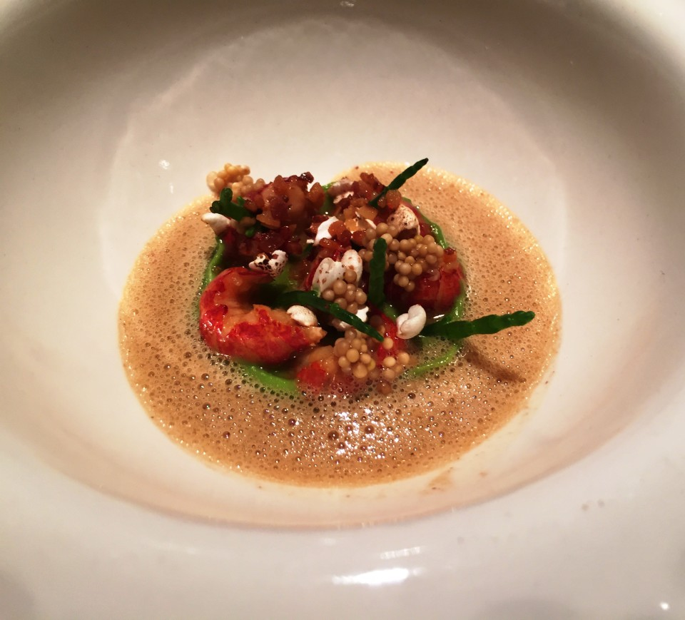 Field Restaurant in Prague : Warm Appetizer of Crayfish, leek, bacon