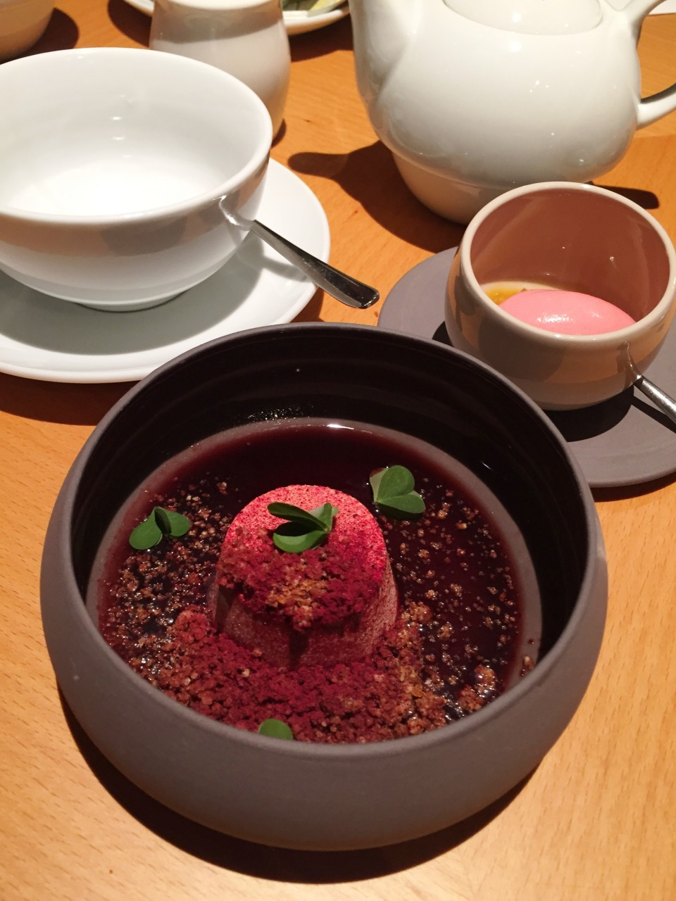 Field Restaurant in Prague : Dessert of Rhubarb, elderberry, salty caramel