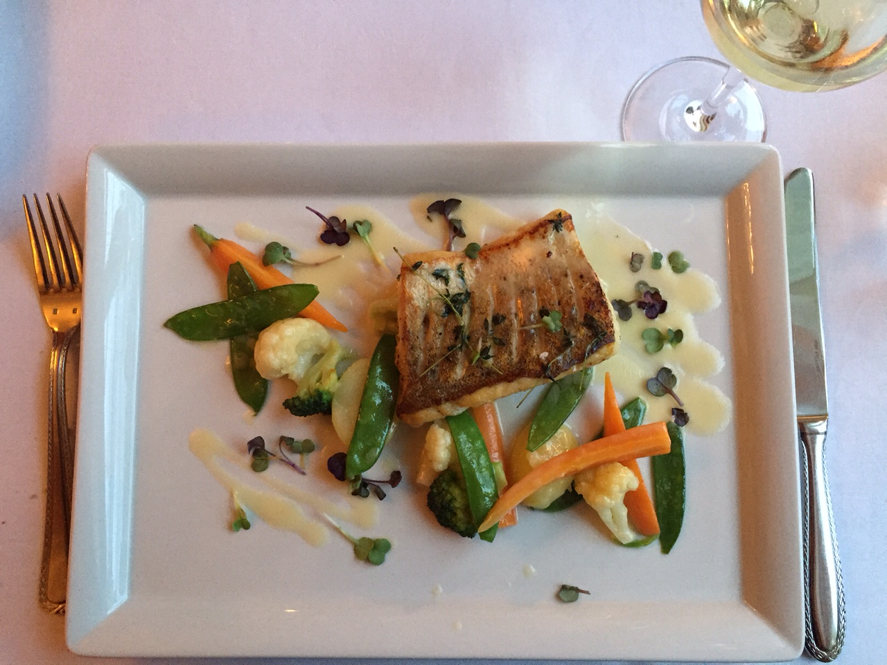 "Piano Nobile at Villa Richter : European Pike Perch (""Zander"") Filet, seasonal vegetables and buttery white wine sauce"