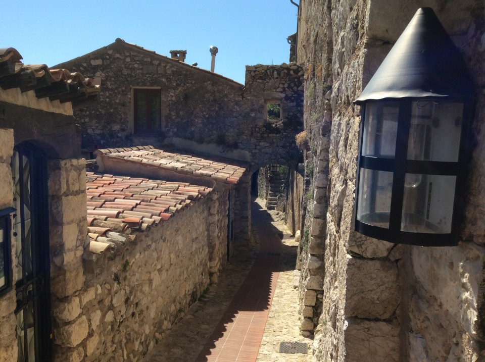 Narrow streets of medieval Eze, on the outskirts of Nice in France
