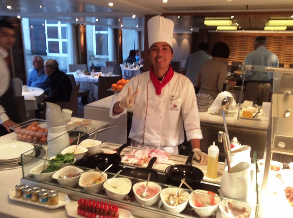 Viking River Cruises - Viking Tor Omelet station at breakfast time