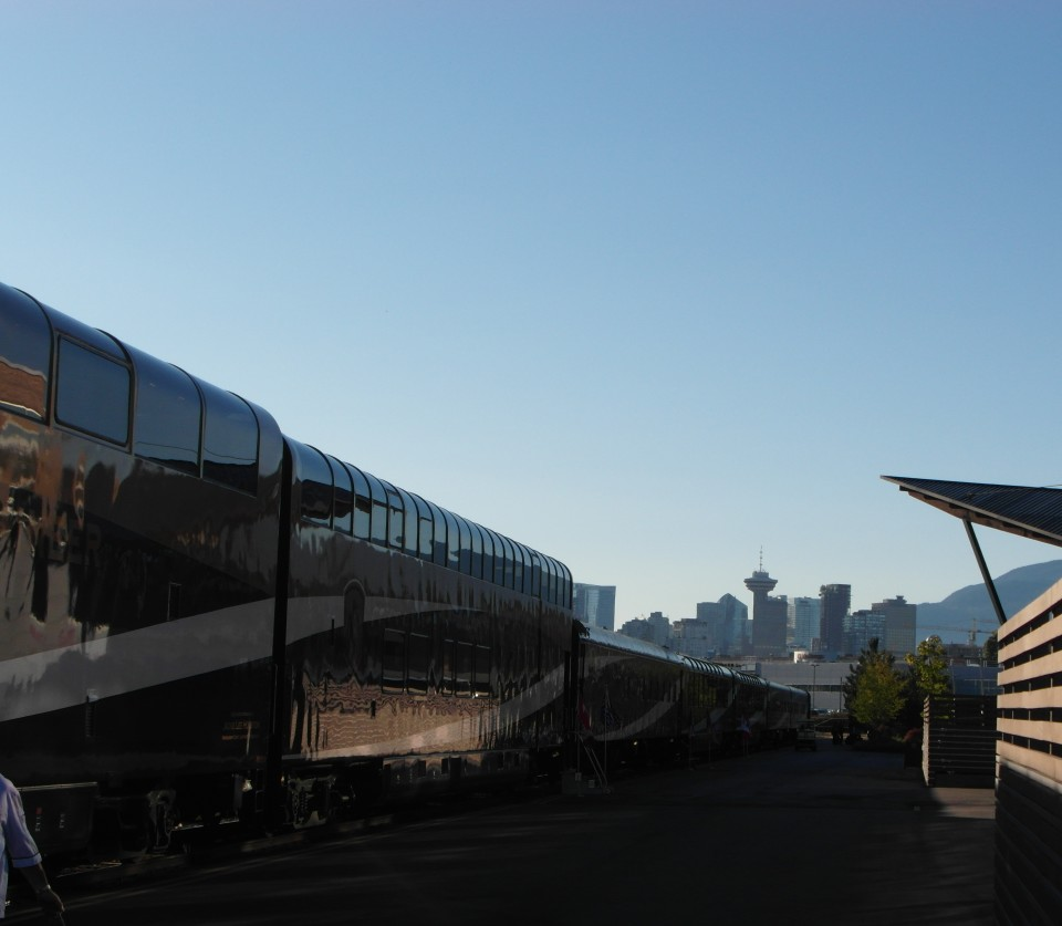 Rocky Mountaineer train pulling into its home station of Vancouver in British Columbia Canada