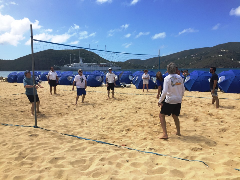 Yacht Cruising the Caribbean in style with Windstar Cruises : Volleyball game at Private Island Beach Experience
