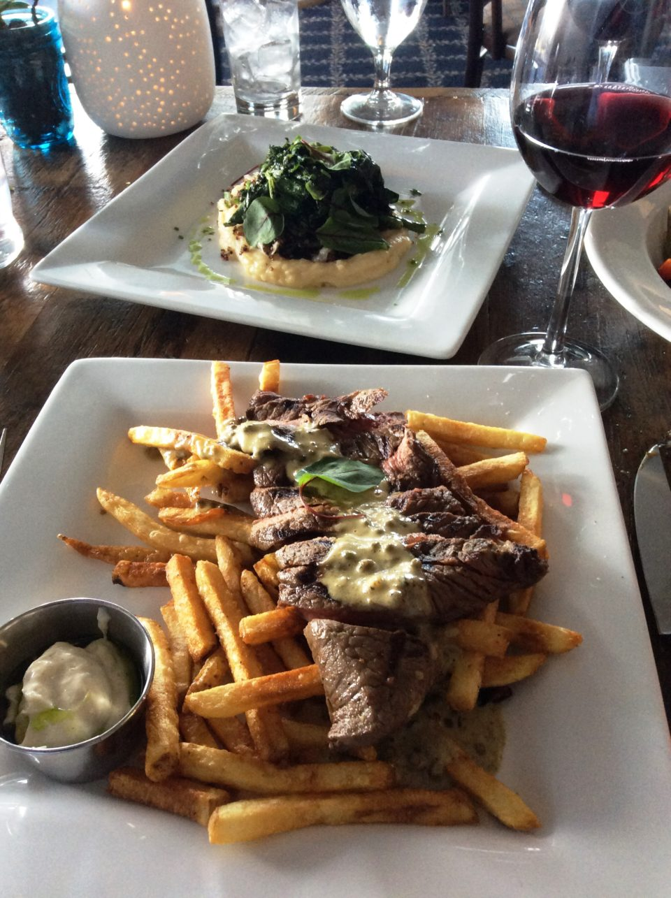 Emerson Inn by the Sea : perfectly cooked Steak Frites with accompanying vegetable medley at Pigeon Cove Tavern restaurant