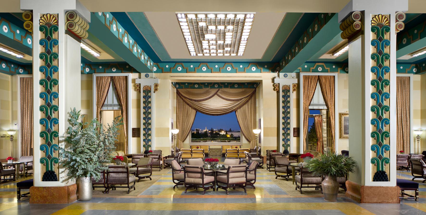 King David Hotel, Jerusalem Israel - Hotel Lobby with view of Old City of Jerusalem