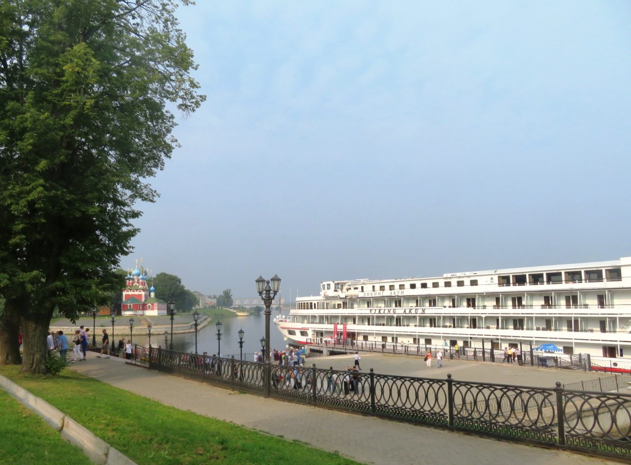 Viking Akun river cruise ship docked on the Volga River in Uglich, Russia