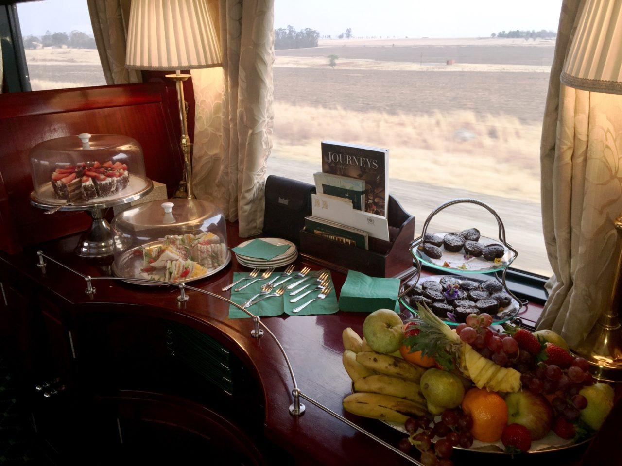 Tea Time in the lounge car aboard <strong>Rovos <em>Rail</em></strong>