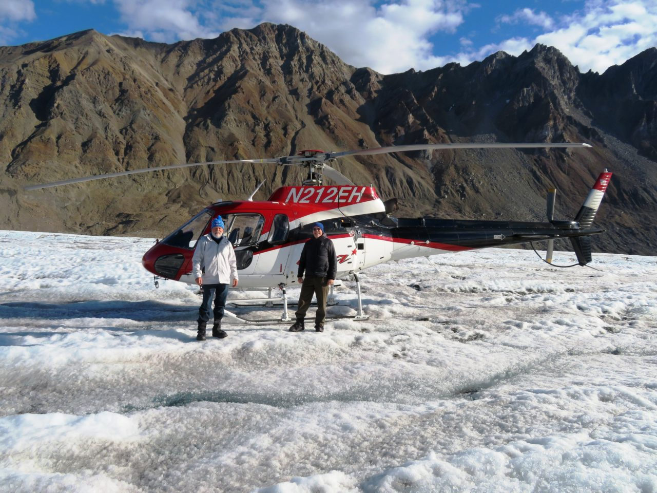 Helicopter landing on a glacier during our Alaska Cruise with Princess Cruises