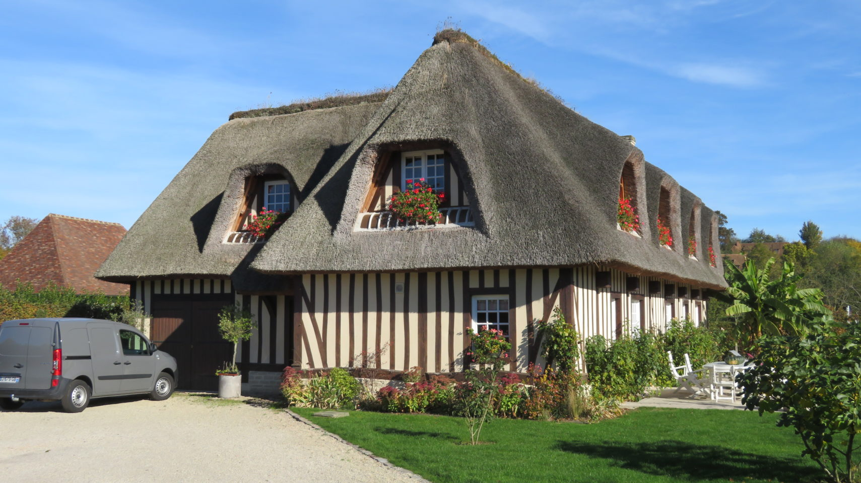Thatched roof and half-timbered house of Normandie (Paris and Normandie AMAWaterways Cruise)