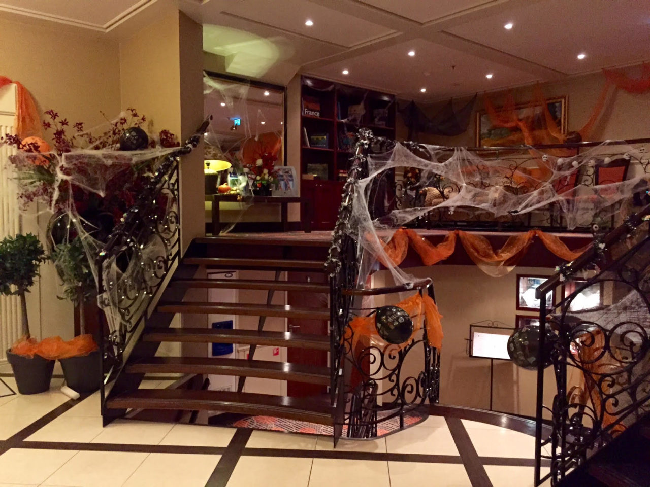 AMALegro river cruise ship dressed up for Halloween night (Paris and Normandie AMAWaterways Cruise)