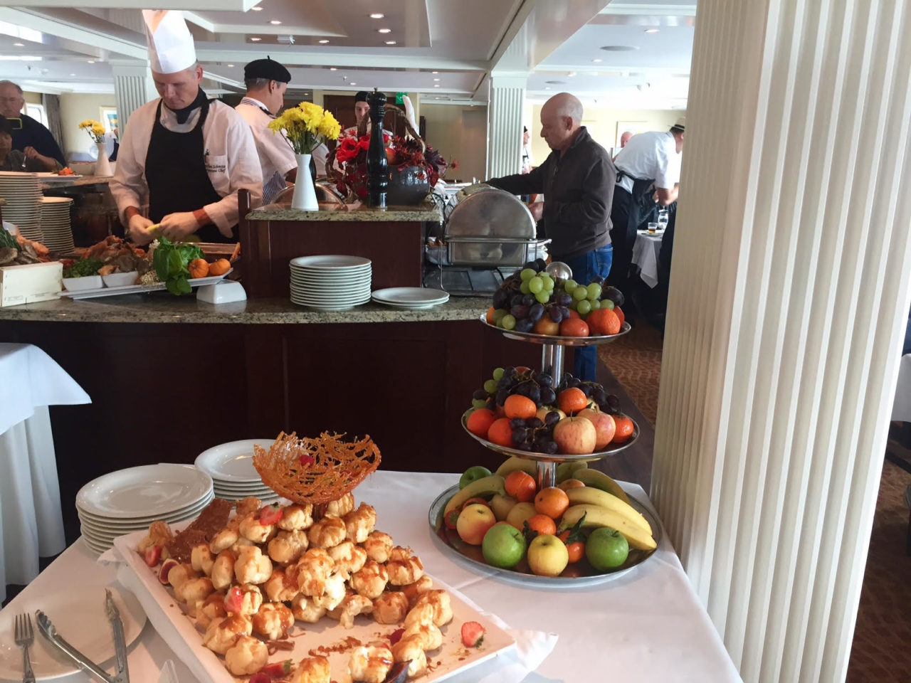 Croque-en-Bouche and Fruit platters ~ Paris and Normandie AmaWaterways Cruise