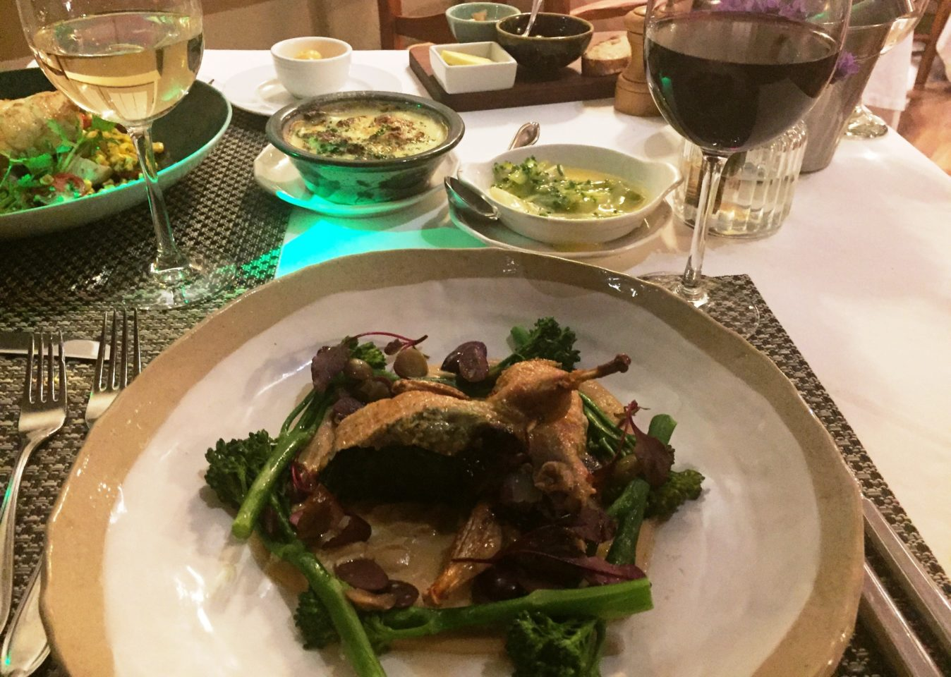 Stuffed Quail at Helena's Restaurant of the Coopmanhuijs Boutique Hotel & Spa