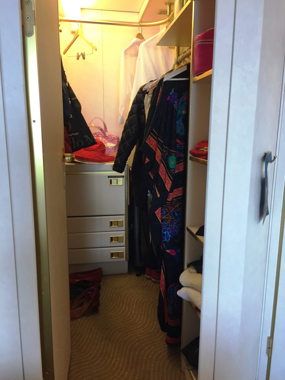 Windstar Cruises ~ our large walk-in closet with automatic illumination