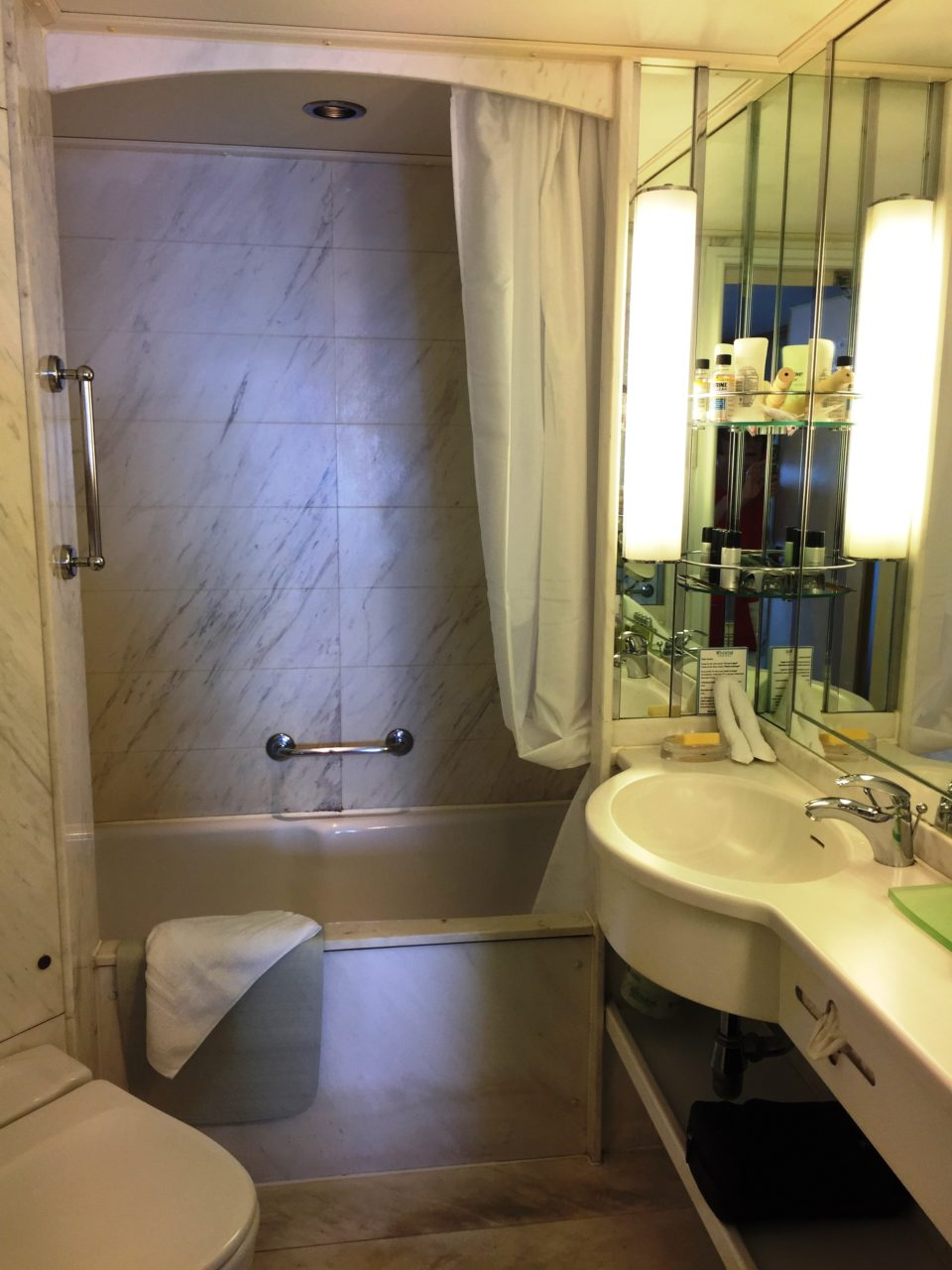 Windstar Cruises ~ the marble bathroom of our cabin with awesome natural light