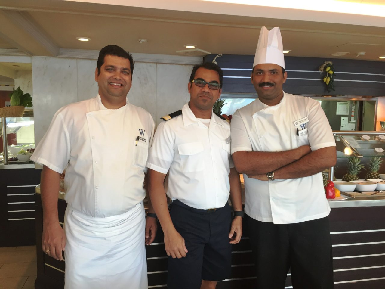 Windstar Cruises ~ the talented trio of Executive Chef Ronit, Restaurant Manager Merrick, and Executive Sous-Chef Nilesh