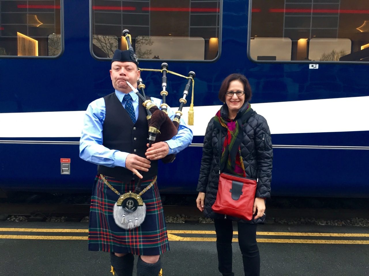 At Vancouver's Rocky Mountaineer train station, a bagpipe send off for our Trip of a Lifetime ...