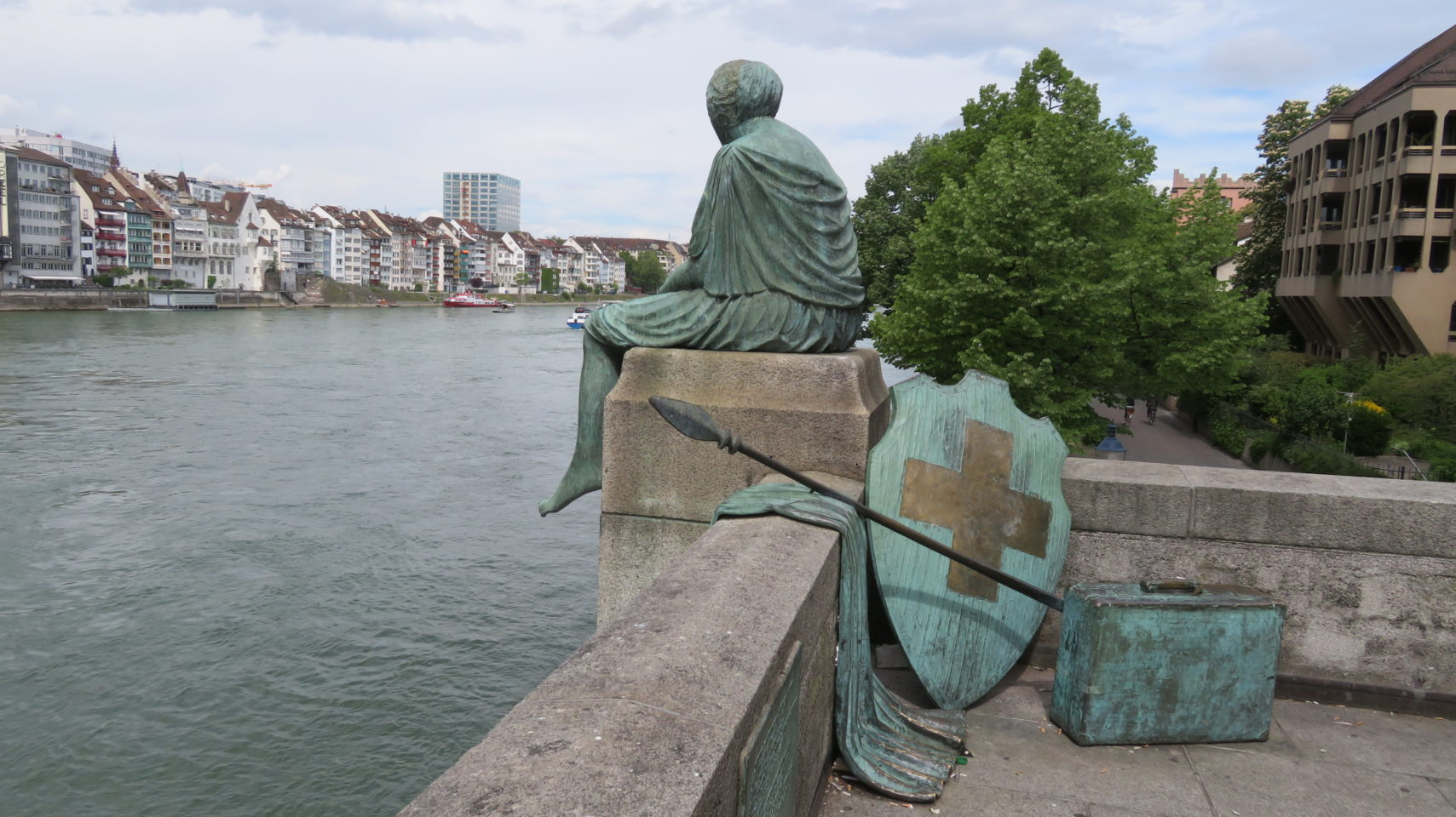 Helvetia on the Journey by Bettina Eichin on the terrace of the Mittlere Brucke in Basel Switzerland