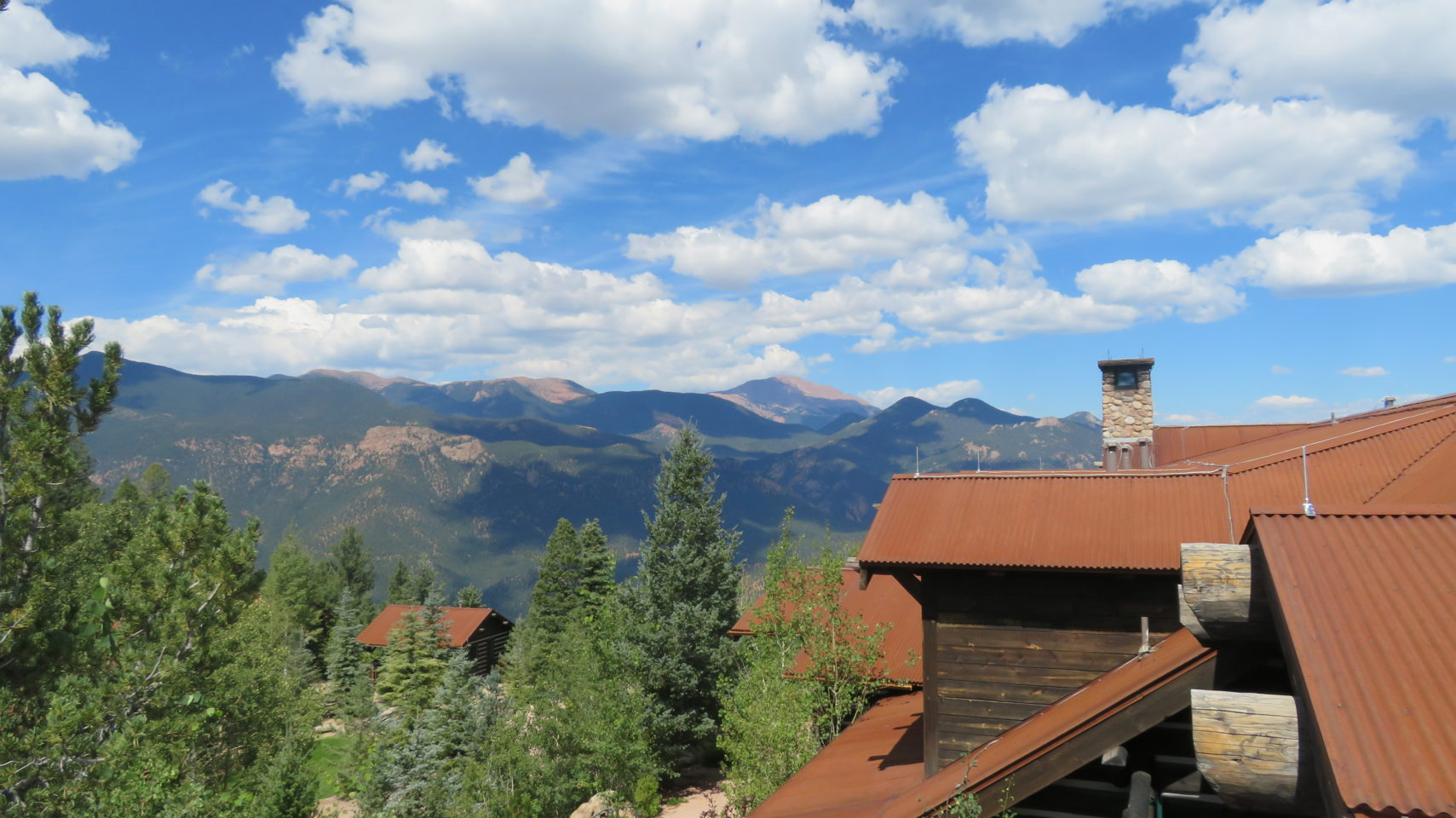 The Pikes Peak summit viewed from Cloud Camp at The Broadmoor