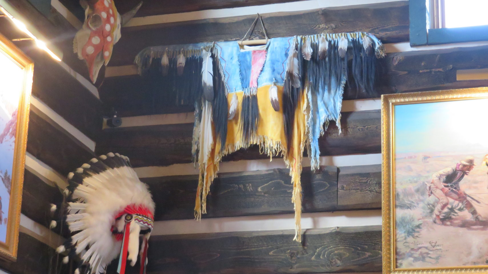 Broadmoor art treasures, including Native American Garb worn by Kostner in his blockbuster film, Dances with Wolves. A gift from Kevin Kostner.