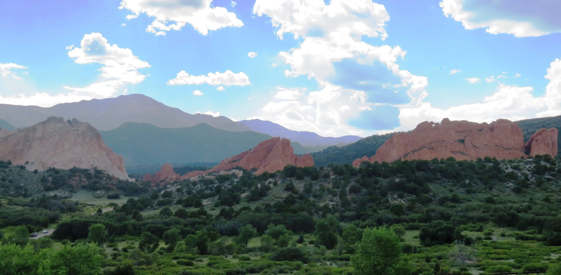 Purple sky, the kissing camels and the Garden of the Gods
