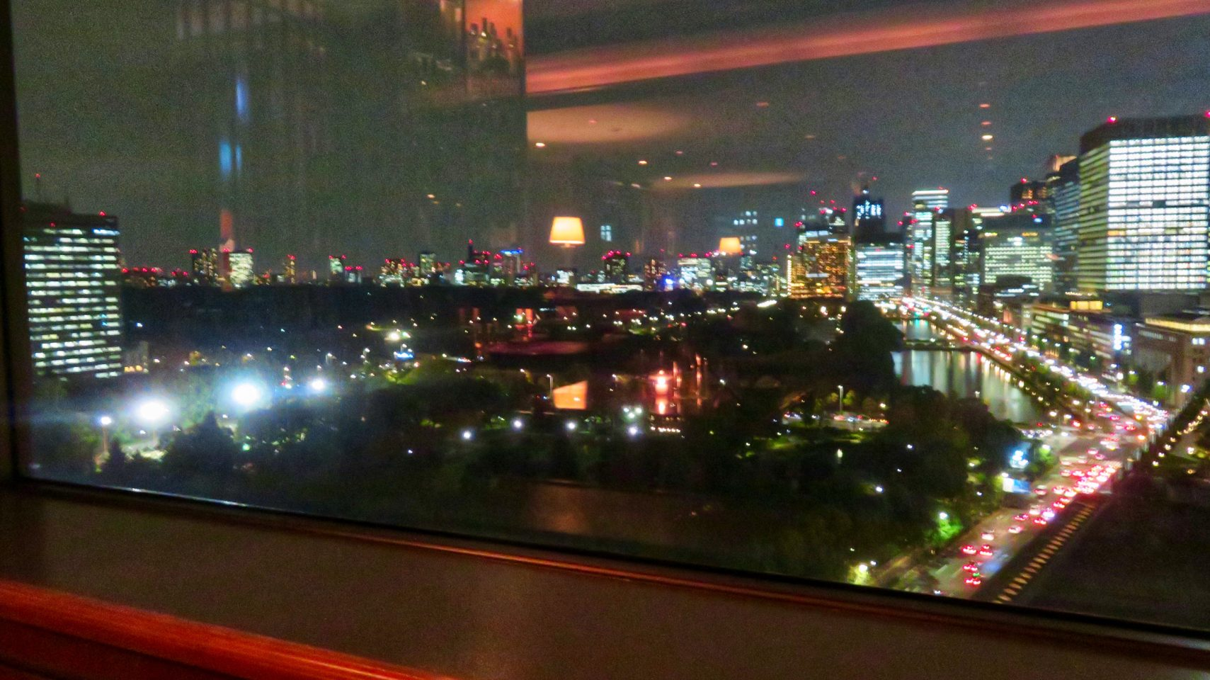 Japan Favorite Experiences ~ Evening view of the Imperial Palace grounds from the Imperial Lounge at the Imperial Hotel Tokyo
