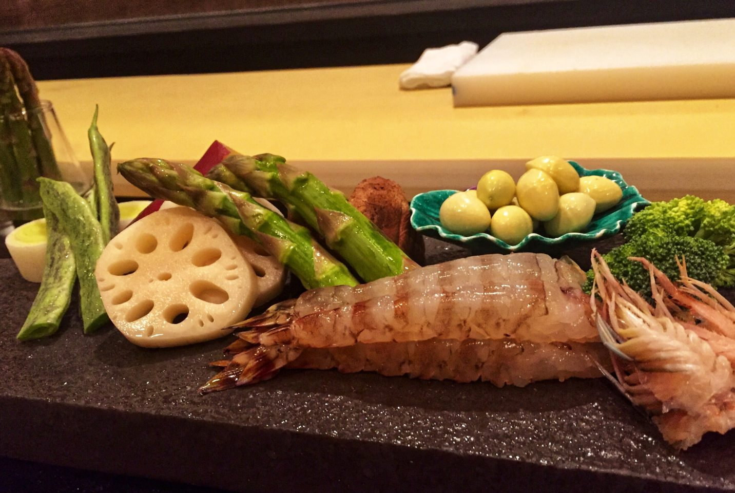 Japan Culinary Experiences ~ Presentation of the fresh ingredients to be dipped in the airy batter and deep fried in a light and fragrant oil for our Tempura dinner at the Hanagatami Restaurant in Osaka